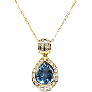 Vintage Aquamarine Diamond Pendant H.Stern Estate 1980's Aquamarine Diamond Pendant 18k Yellow Gold
