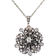 "Antique Diamond Pendant Necklace 1.67ct t.w. Circa 1880's Diamond Flower Pendant Necklace Sterling Silver 14k Rose Gold 18"" Inch Chain"