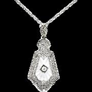 Art Deco Diamond Crystal Pendant Circa 1930's Filigree White Gold Pendant Necklace 14k