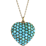 Antique 1880's Pave' Cabochon Natural Turquoise Victorian Gold Heart Locket 10k Rose Yellow Gold