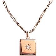 Art Nouveau 1900's .24ct Antique Old European Cut Diamond Locket Pendant Necklace 14k 9k Rose Gold