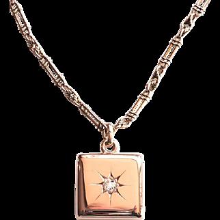 Art Nouveau 1900's .24ct Antique Old European Cut Diamond Locket Pendant Necklace 14k 9k Rose Gold