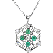 "Art Deco Diamond Diamond Pendant Vintage Circa 1930's Old European Cut Cabochon Filigree Pendant Platinum 18k White Gold 18"" inches"