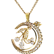 "Antique Victorian Old Pear Mine Cut Diamonds Circa 1880's 2.83ct t.w. Crescent Moon Pendant Necklace 18k Gold 14k Gold Chain 20"" Inches"