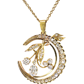 "Antique Victorian Old Pear Mine Cut Diamonds Circa 1880's 2.83ct t.w. Crescent Moon Pendant Necklace 18k Gold 14k Gold Chain 20"" Inches"