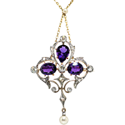 Antique Amethyst Old Diamond Pearl Necklace Pendant 6.19ct t.w. Circa 1900's Art Nouveau Pendant Pin Brooch 18k 14k Platinum