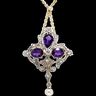 Antique Amethyst Old Diamond Pearl Necklace Pendant 6.19ct t.w. Circa 1900's Art Nouveau Pendant Pin Brooch 18k 14k Platinum