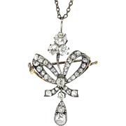 Antique Victorian Old Cut Diamond Bow Pendant Brooch Necklace Circa 1890's 15k Gold Silver