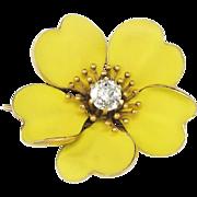SALE Exquisite 1900's .56ct Old European Cut Diamond Bright Beautiful Buttercup Pin 18k