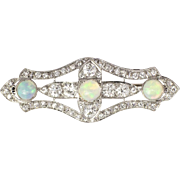 Superb 1930's Opal & Old European Cut Diamond Platinum Brooch Pin Pendant