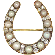 Victorian 1880's Old Mine Cut Diamond & Pearl Horseshoe Pin Pendant 18k