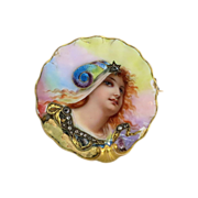 Mythical French Victorian Enamel & Diamond Portrait Brooch 18k/20k