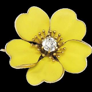 Antique Art Nouveau 1900's Old European Cut Diamond Enamel Buttercup 18k Pin Brooch