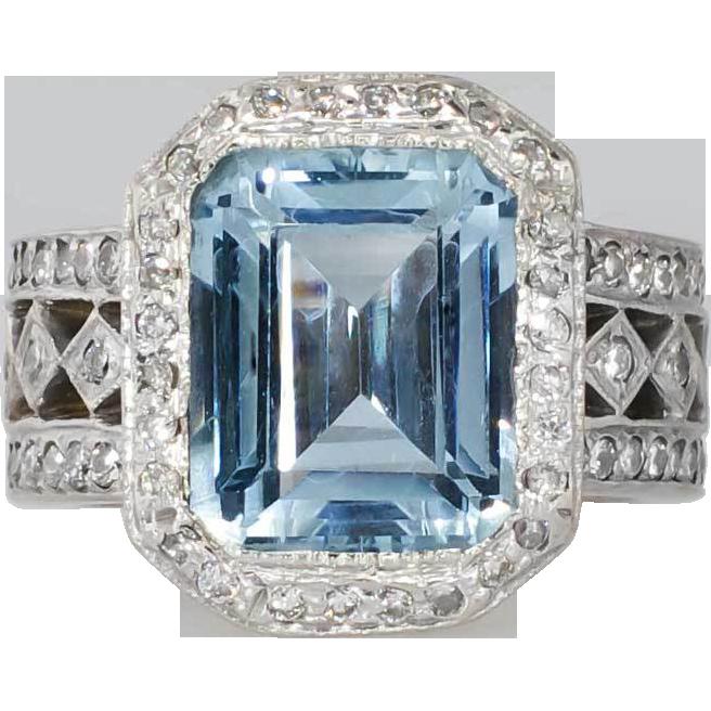 Gorgeous Estate 6.55ct Emerald Cut Aquamarine Diamond Ring ...