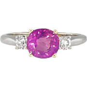 Pink Sapphire Ring Estate Vintage Cushion Cut Pink Sapphire Diamond Three Stone Birthstone Anniversary Cocktail Ring 14k Gold