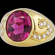 Vintage Ring Estate Kurt Wayne Pink Tourmaline & Diamond Cocktail Birthstone 18k Yellow Gold Ring