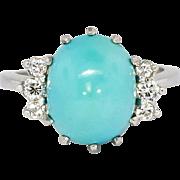 Beautiful Retro 9.57ct t.w. Robin's Egg Blue Turquoise & Diamond Ring Platinum