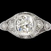 Art Deco 2.14ct t.w. 1930's Bezel Set Old European Cut Diamond Engagement Ring Platinum
