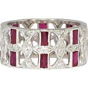 Art Deco 1930's 3.09ct t.w. Diamond & Ruby Platinum Wide Eternity Band Size 7