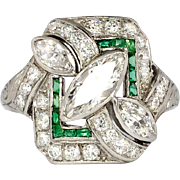 Incredible 1930's Art Deco 1.87ct t.w. Marquise Diamond & Emerald Engagement Ring Platinum