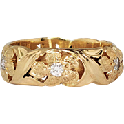 Beautiful Heavy .25ct t.w. Diamond Floral Jabel Eternity Band 18k - Red Tag Sale Item