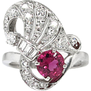 Vintage Retro 1940's 1.30ct t.w. Pink Tourmaline & Diamond Cocktail Anniversary Ring Band Platinum