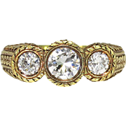 Art Deco 1930's Vintage 1.40ct t.w. Diamond Three Stone Engagement Anniversary 18k Ring