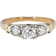Retro Vintage 1940's .66ct t.w. Old European Cut Diamond Three Stone Engagement Ring 14k