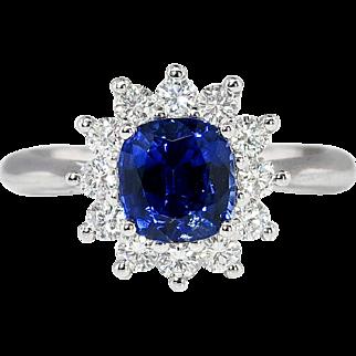 Vintage Estate 1.93ct t.w. Cushion Cut Blue Sapphire & Diamond Halo Princess Di Engagement Ring Platinum