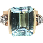 Vintage Emerald Cut Aquamarine Star Motif Diamond 14k Rose Gold Ring 1940's Retro