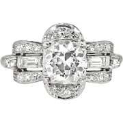 Art Deco 1930's 1.63ct t.w. Old European Cut Baguette Cut Diamond Engagement Ring Platinum
