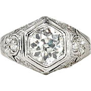 Art Deco 1930's 2ct t.w. Old European Cut Diamond Engagement Ring Platinum 14k