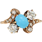 Art Nouveau 1900's 1.85ct t.w. Natural Turquoise & Old European Cut Diamond Bypass Ring 14k