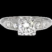 Vintage Retro 1940's .73ct t.w. Old Transitional Cut Diamond Engagement Ring Platinum