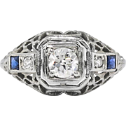 Vintage Art Deco 1930's Belais .45ct t.w. Old European Cut Diamond & Lab Sapphire Engagement Ring 18k