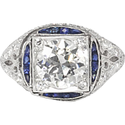 Vintage Art Deco 1930's 2.28ct t.w. Old European Cut Diamond & Sapphire Engagement Ring Platinum