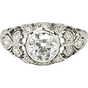Vintage Art Deco 1930's 1.44ct t.w. Old European Cut Diamond Platinum Engagement Ring