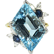 Vintage 1980's 11.67ct t.w. Aquamarine, Diamond & Blue Sapphire Cocktail Ring 18k