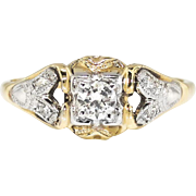 Art Deco 1930's .16ct t.w. Old Transitional Cut Diamond Engagement Ring Two Tone 14k