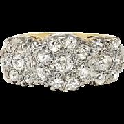 Vintage Edwardian 1920's .70ct t.w. Old European Cut Diamond Triple Floral Halo Ring 18k