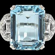 Vintage 1940's 12.28ct t.w. Emerald Cut Aquamarine & Diamond Ring Platinum