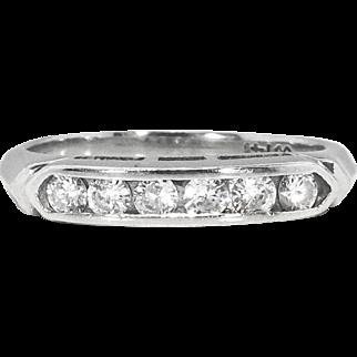 Art Deco 1930's .25ct t.w. Six Diamond Vintage Wedding Stacking Anniversary Band Ring 14k White Gold