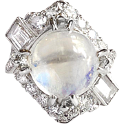 Retro Vintage 1950's 8.66ct t.w. Natural Moonstone & Diamond Cocktail Anniversary Ring Platinum