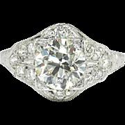 Vintage Art Deco 1930's EGL Certified 2.49ct t.w. Old European Cut Diamond Engagement Ring Platinum