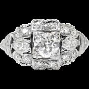 Vintage 1940's .77ct t.w. Old European Cut Marquise Cut Diamond Engagement Ring Platinum
