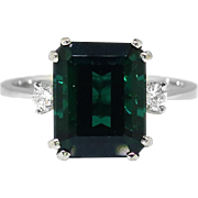 Vintage Estate 1960's 3.90ct t.w. Emerald cut Green Tourmaline & Diamond Three Stone Ring 18k White Gold