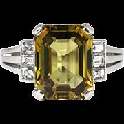 Vintage Estate 1980's Mikimoto 4.28ct t.w. Chrysoberyl Asscher Cut Diamond Cocktail Anniversary Birthstone Ring Platinum