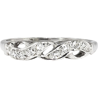 Art Deco 1930's .08ct t.w. Eight Diamond Vintage Wedding Stacking Anniversary Band Ring 14k White Gold