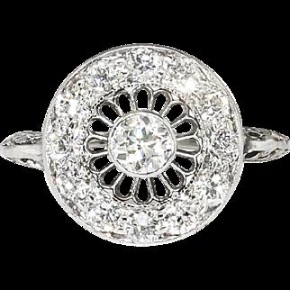 Vintage Art Deco 1930's .55ct t.w. Old European Cut Diamond Halo Filigree Platinum Engagement Anniversary Ring