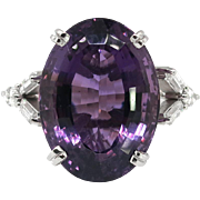 Vintage 1970's 13.31ct t.w. Amethyst & Baguette Marquise Diamond Cocktail Anniversary Birthstone Ring 18k